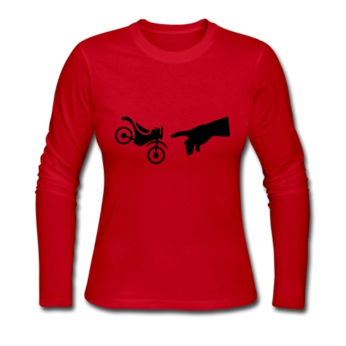 The hand of god brakes a motorcycle as an allegory - Women's Long Sleeve Jersey T-Shirt