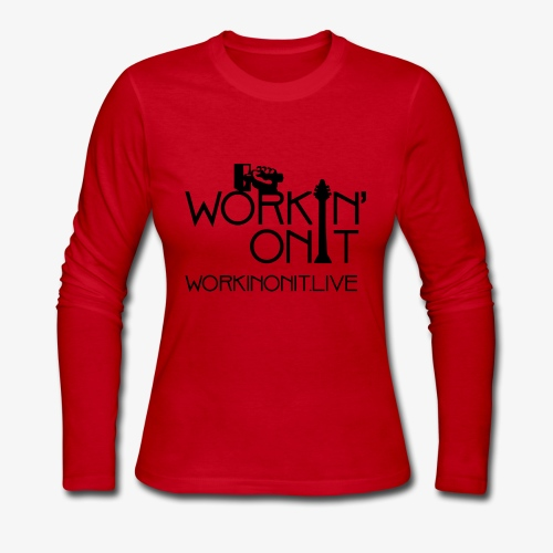 WORKIN' ON IT: BLACK LOGO - Women's Long Sleeve Jersey T-Shirt