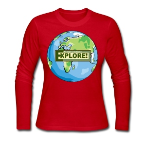 EXPLORE! Logo on the Earth - Women's Long Sleeve Jersey T-Shirt