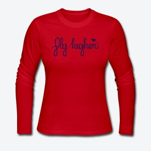 Fly Higher - Navy - Women's Long Sleeve Jersey T-Shirt