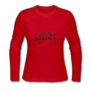 SWEETHEART BLACK & RED by: Roland Ross - Women's Long Sleeve Jersey T-Shirt