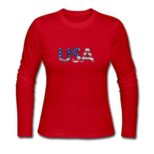 USA Flag T-shirt 4th July Fourth Red White Blue - Women's Long Sleeve Jersey T-Shirt