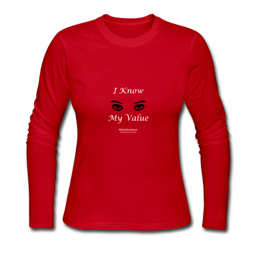 I Know My Value White Print - Women's Long Sleeve Jersey T-Shirt