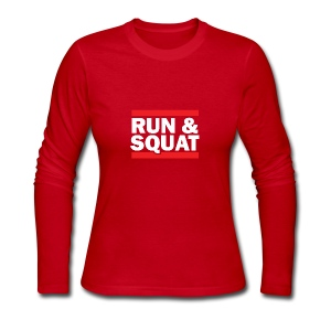 Run Squat White on Dark by Epic Greetings - Women's Long Sleeve Jersey T-Shirt