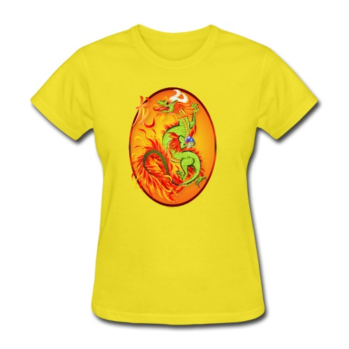 New Year Dragon and Symbol Oval - Women's T-Shirt