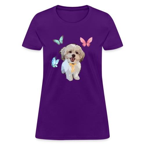 Shih Tzu Butterflies design - Women's T-Shirt