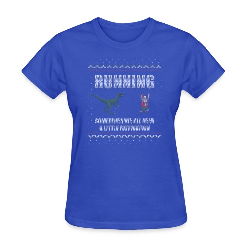 Ugly Christmas Sweater Running Dino and Santa - Women's T-Shirt