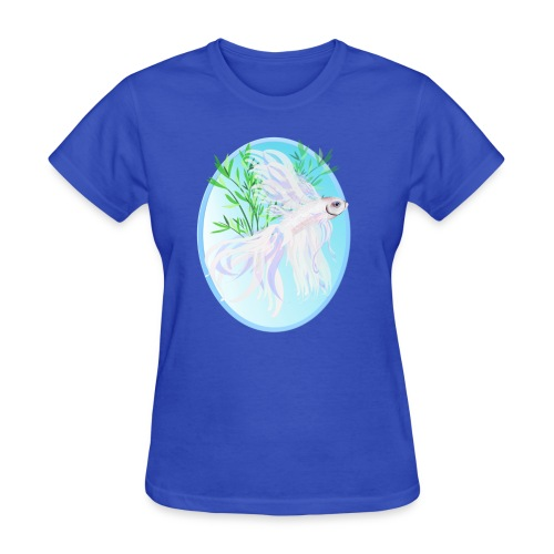 White Siamese Fighting Fish Oval - Women's T-Shirt