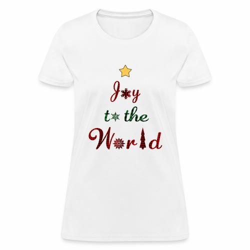 Joy to the world Christmas Tree Star Holiday Plaid - Women's T-Shirt