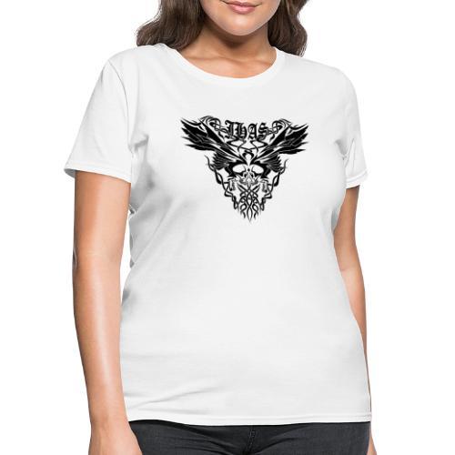 Vintage JHAS Tribal Skull Wings Illustration - Women's T-Shirt