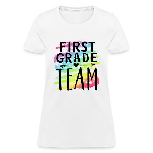 First Grade Team Crayon Splash Teacher T-Shirts - Women's T-Shirt