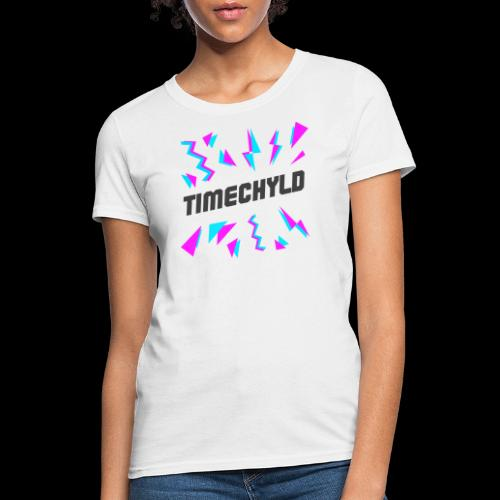 Timechyld Logo with Retro Pattern (Black) - Women's T-Shirt