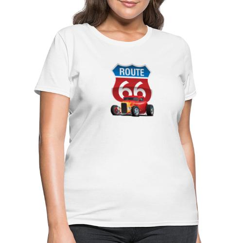 Route 66 Sign with Classic American Red Hotrod - Women's T-Shirt