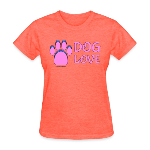 Pink Dog paw print Dog Love - Women's T-Shirt