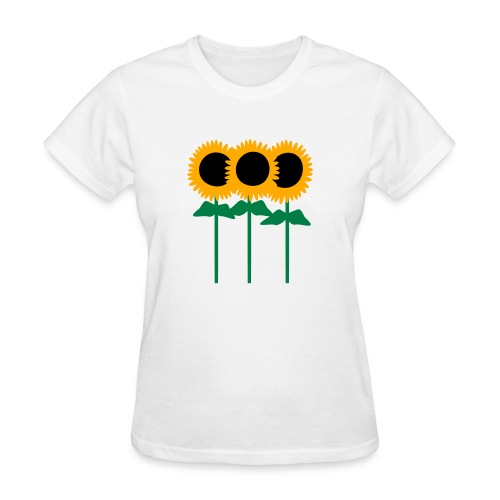 Three Cute Sunflowers With Stem And Leaves - Women's T-Shirt