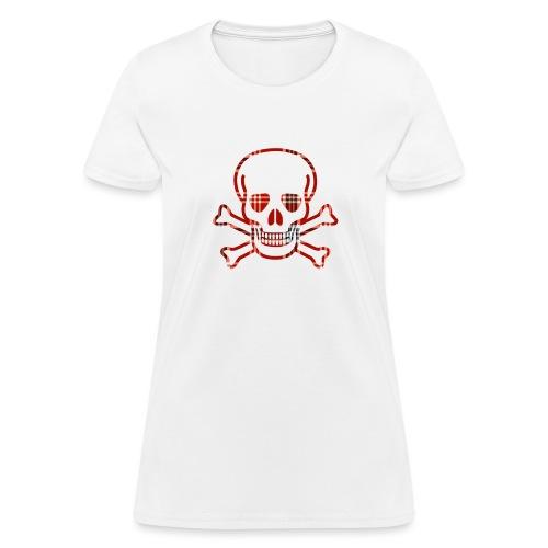 Skull & Cross Bones Red Plaid - Women's T-Shirt