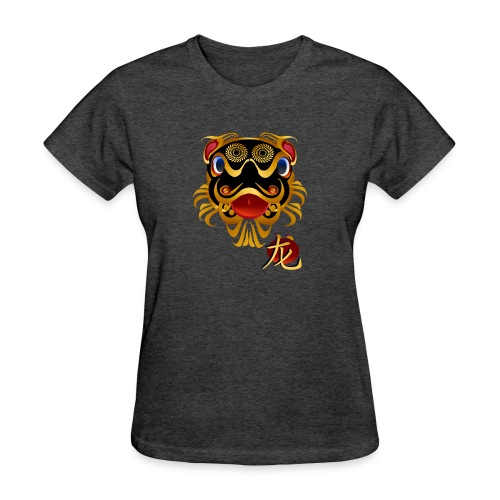Black n Gold Chinese Dragon 's Face and Symbol - Women's T-Shirt