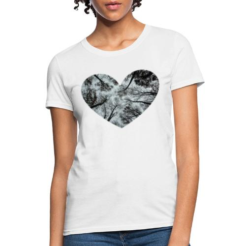 Heart Abstract Black and White Trees - Women's T-Shirt