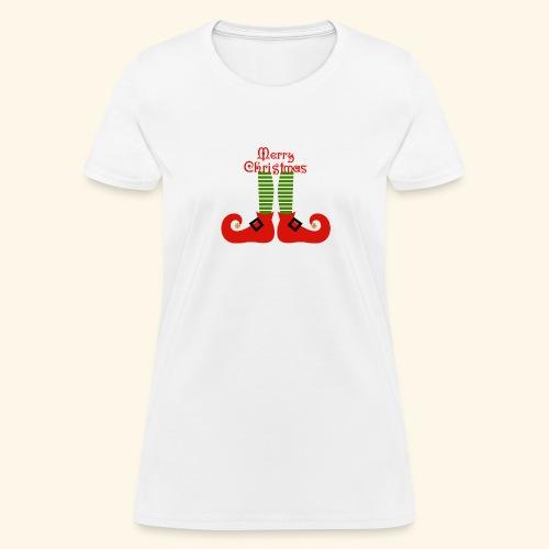 Elf Feet Merry Christmas Design - Women's T-Shirt