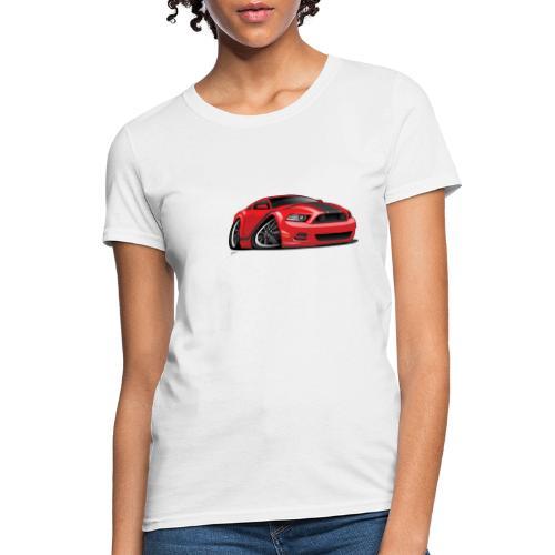 American Muscle Car Cartoon Illustration - Women's T-Shirt