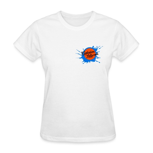 White Explosion Network Pocket Tee w/ Characters - Women's T-Shirt