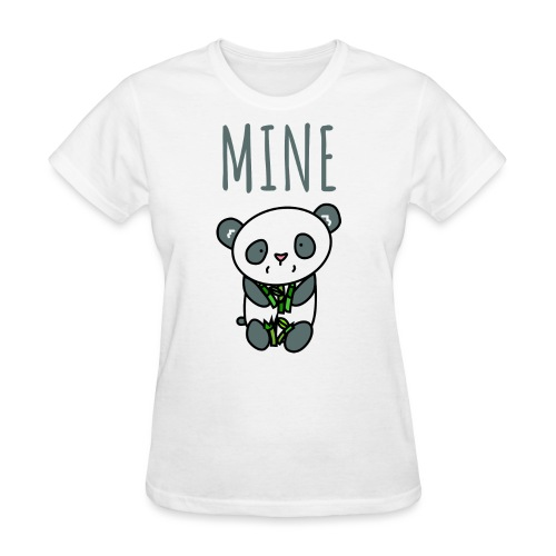 Cute Panda Eating And Holding Bamboo - Women's T-Shirt