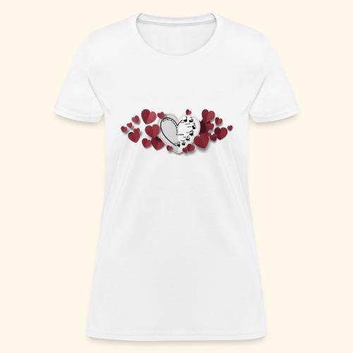 paper valentine hearts 19800 1 - Women's T-Shirt