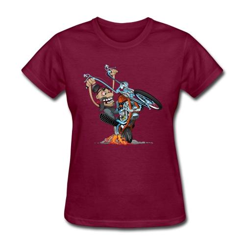 Funny biker riding a chopper cartoon - Women's T-Shirt