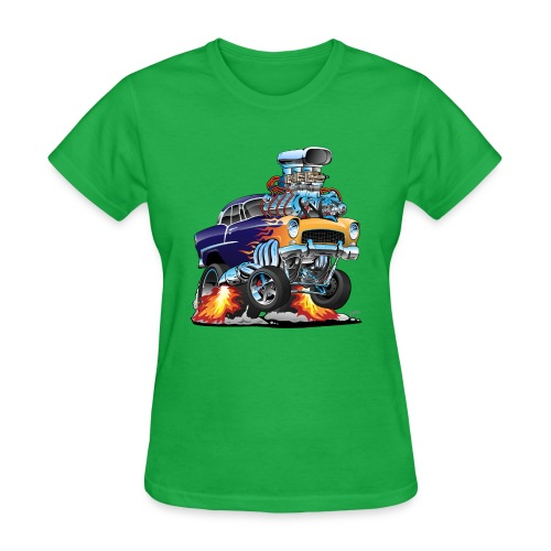 Classic Fifties Hot Rod Muscle Car Cartoon - Women's T-Shirt