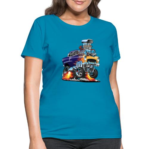 Classic Fifties Hot Rod Muscle Car Cartoon - Women's T-Shirt