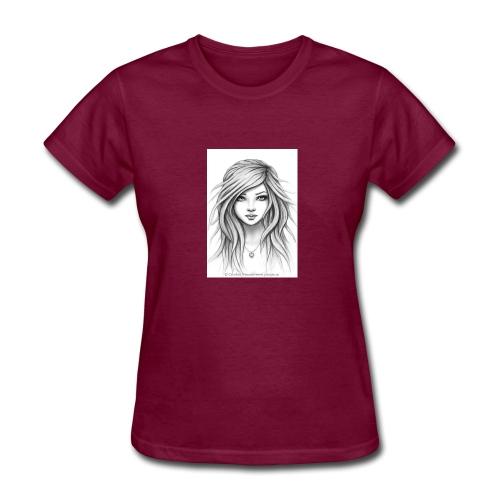 drawn sketch female 16 - Women's T-Shirt