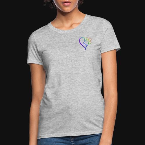 Paw Print on my Heart Rainbow Bridge - Women's T-Shirt