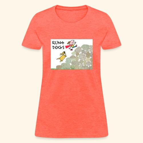 Dog chasing kid - Women's T-Shirt