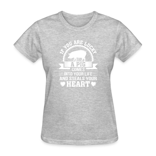 Mini Pig Comes Your Life Steals Heart - Women's T-Shirt