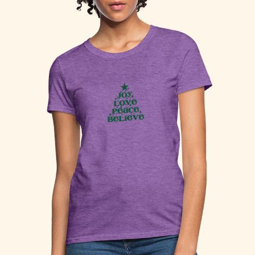 Christmas Tree Joy Peace Believe - Women's T-Shirt