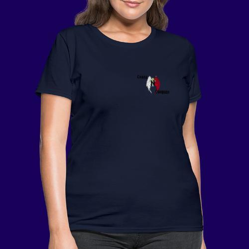 ChaosNConquer Design Logo with Steampunk Girl - Women's T-Shirt