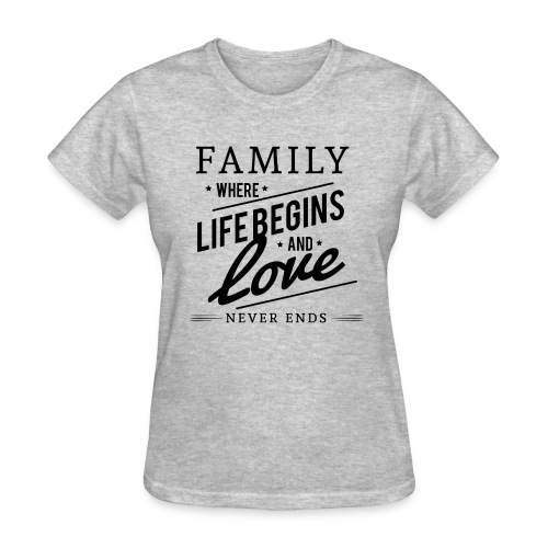Family Where Life Begins and Love Never Ends - Women's T-Shirt