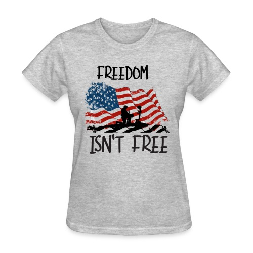Freedom isn't free flag with fallen soldier design - Women's T-Shirt
