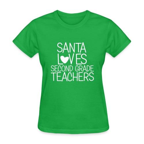 Santa Loves Second Grade Teachers Christmas Tee - Women's T-Shirt