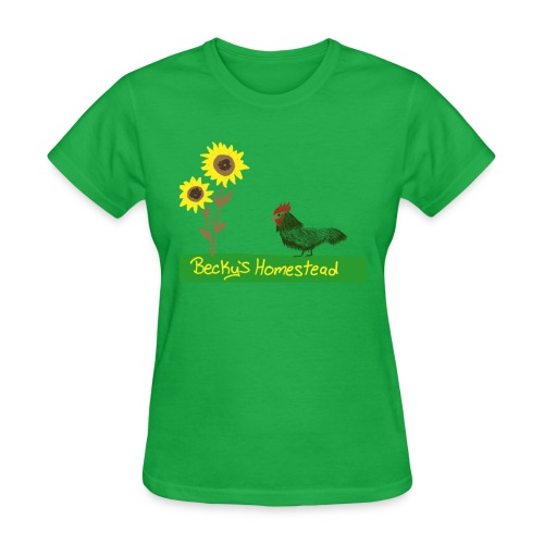 Chicken and Sunflowers - Women's T-Shirt