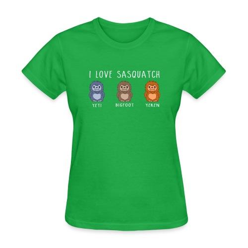 I Love Sasquatch Yeti Bigfoot Yeren Cute Chibi Wh - Women's T-Shirt