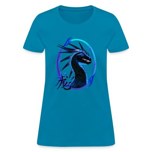 Horned Black Dragon and Symbol - Women's T-Shirt