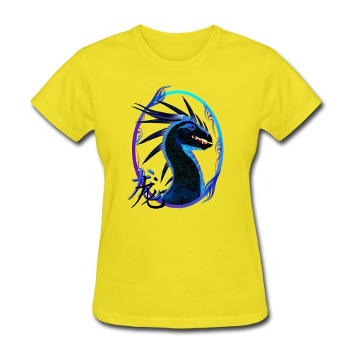 Horned Black Dragon and Symbol - Women's T-Shirt