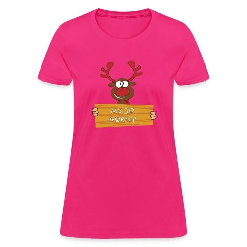Red Christmas Horny Reindeer 9 - Women's T-Shirt