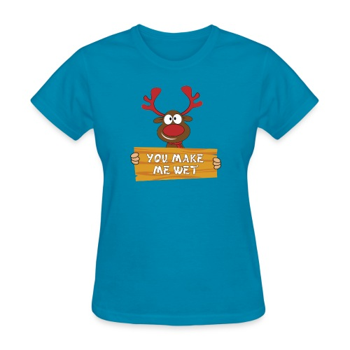 Red Christmas Horny Reindeer 2 - Women's T-Shirt