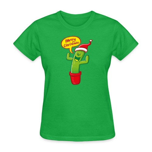 Green cactus with Santa hat celebrating Christmas - Women's T-Shirt