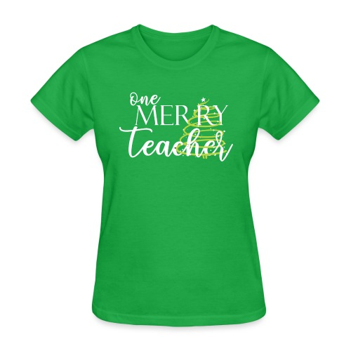 One Merry Teacher Christmas Tree Teacher T-Shirt - Women's T-Shirt