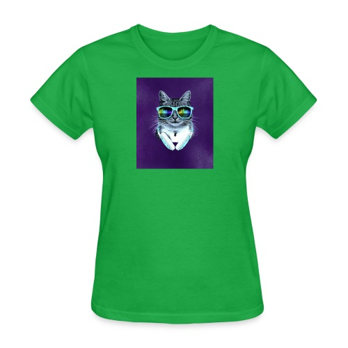cool cat with glasses and headphones julio cesar - Women's T-Shirt