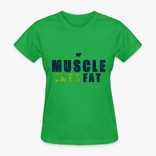 Muscle Eats Fat (Seahawks Blue) - Women's T-Shirt