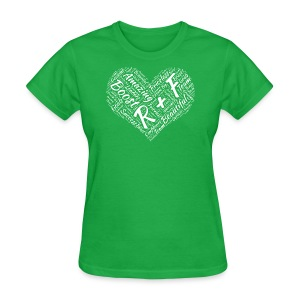 R+F White Heart - Women's T-Shirt